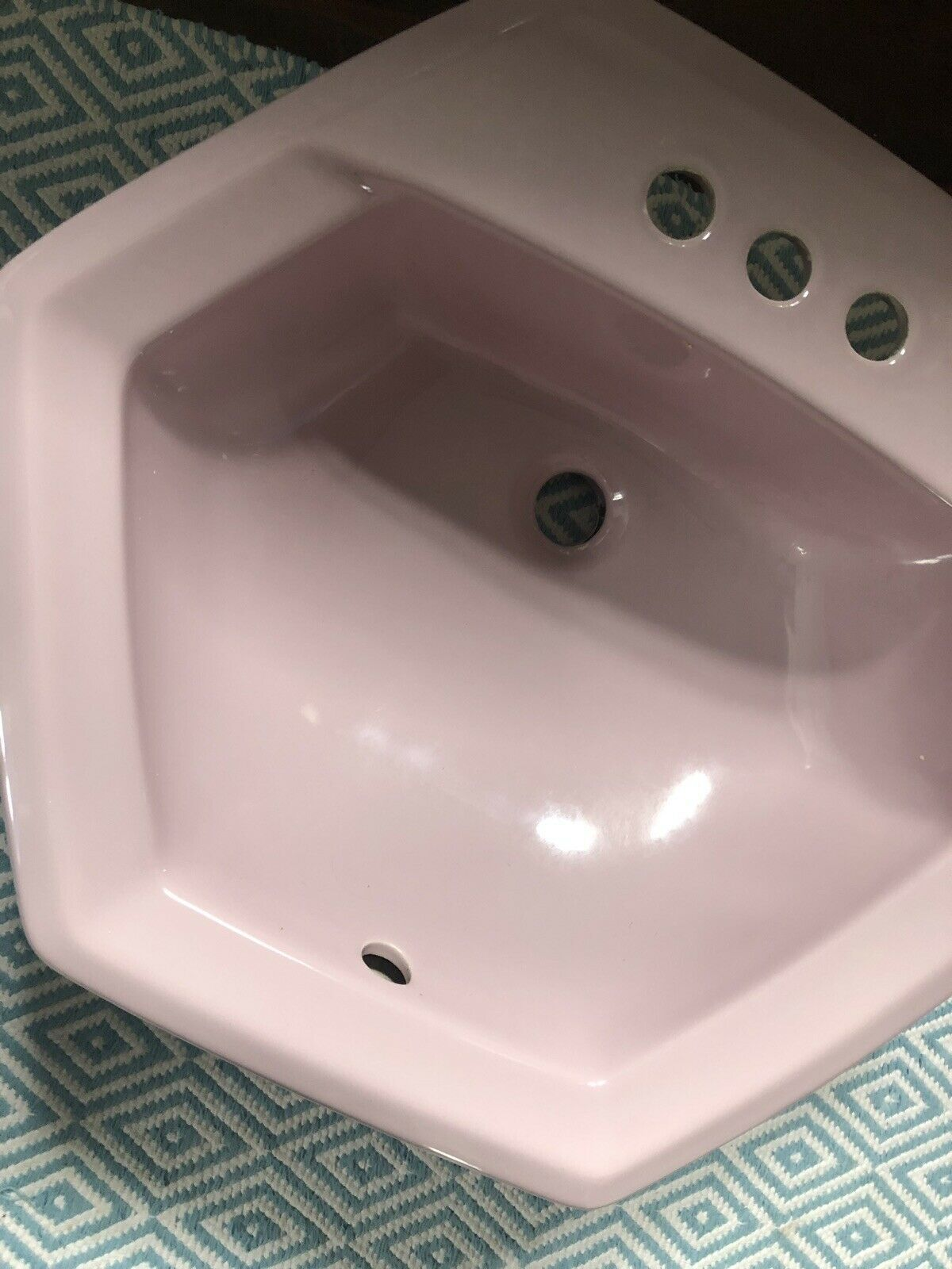 Set Of 2 Vintage 3 Hole Drop In Bathroom Sinks Pink Enamel