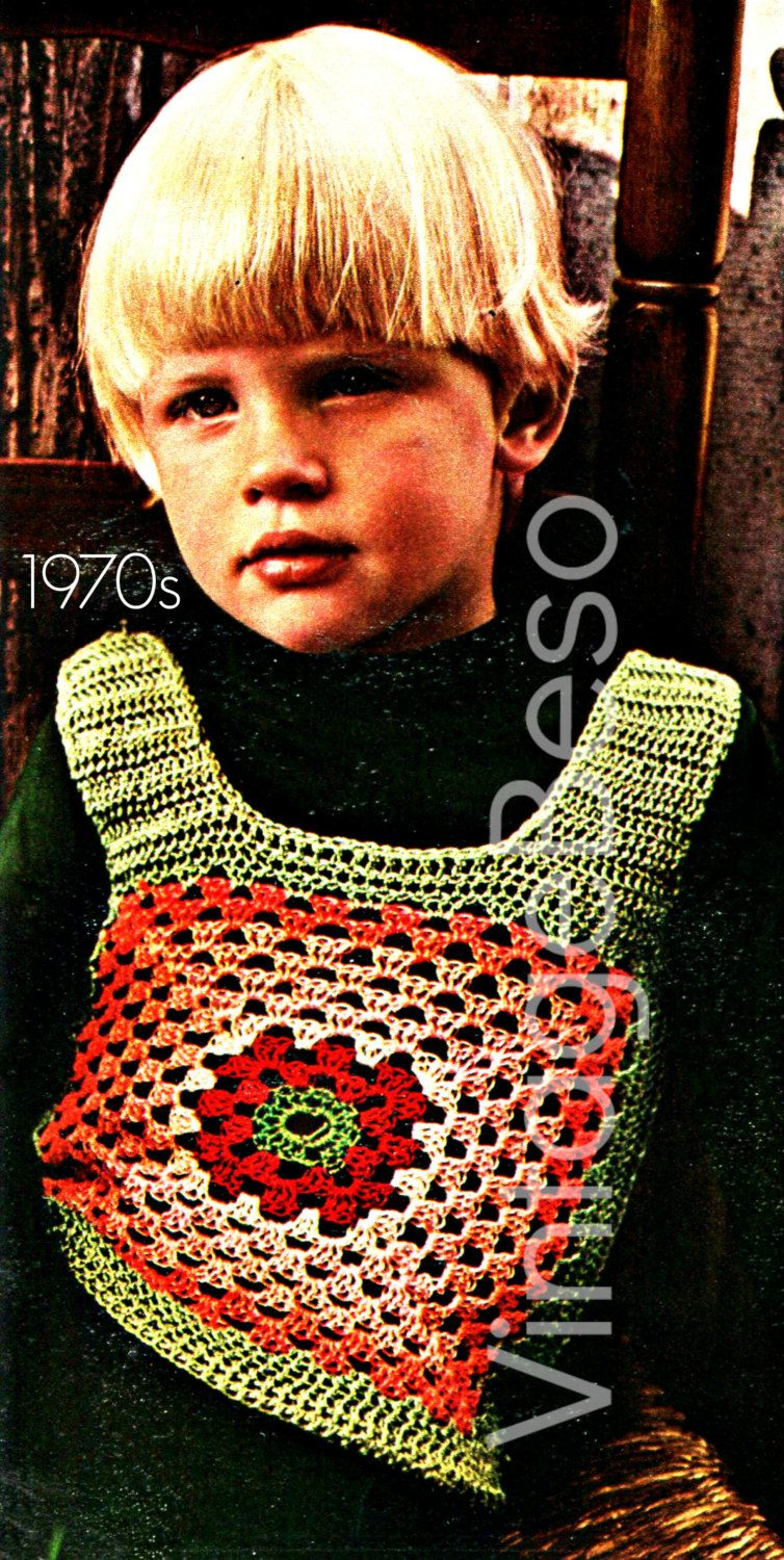 Childs VEST CROCHET Pattern 1970s Granny Square Vintage Crochet ...