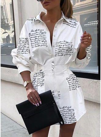 VERYVOGA Weiß Freizeit Über dem Knie Hemdkragen Polyester Druck Lange Ärmel Druck A-Linien Kleider. #VERYVOGA #Freizeit #ÜberdemKnie #Hemdkragen #Polyester #Druck #LangeÄrmel #Druck #ALinien #Kleider #Weiß #White #jurken