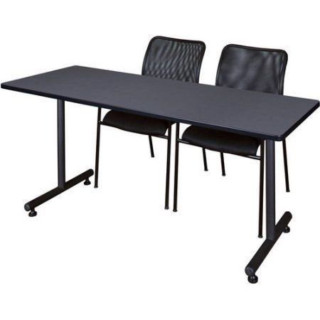 Kobe 66 inch x 24 inch Training Table in Multiple Colors and 2 Mario Stack Chairs, Black, Gray