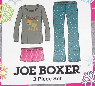 She will love this Joe Boxer 3 Piece Pajama Set.  Set comes tied in a white gift giving ribbon.  Long sleeve top is brown and features an adorable little reindeer. His antlers are decorated in Christmas lights.