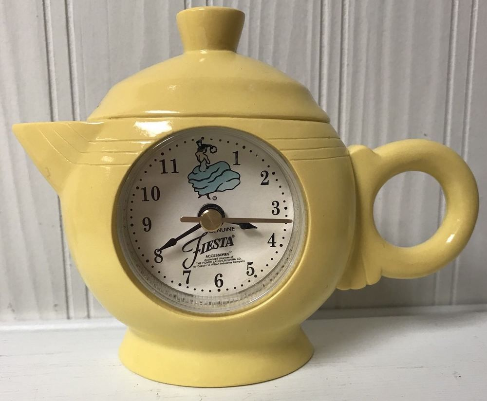 Fiesta Genuine Accessories Teapot Wall Clock Yellow Fiestaware