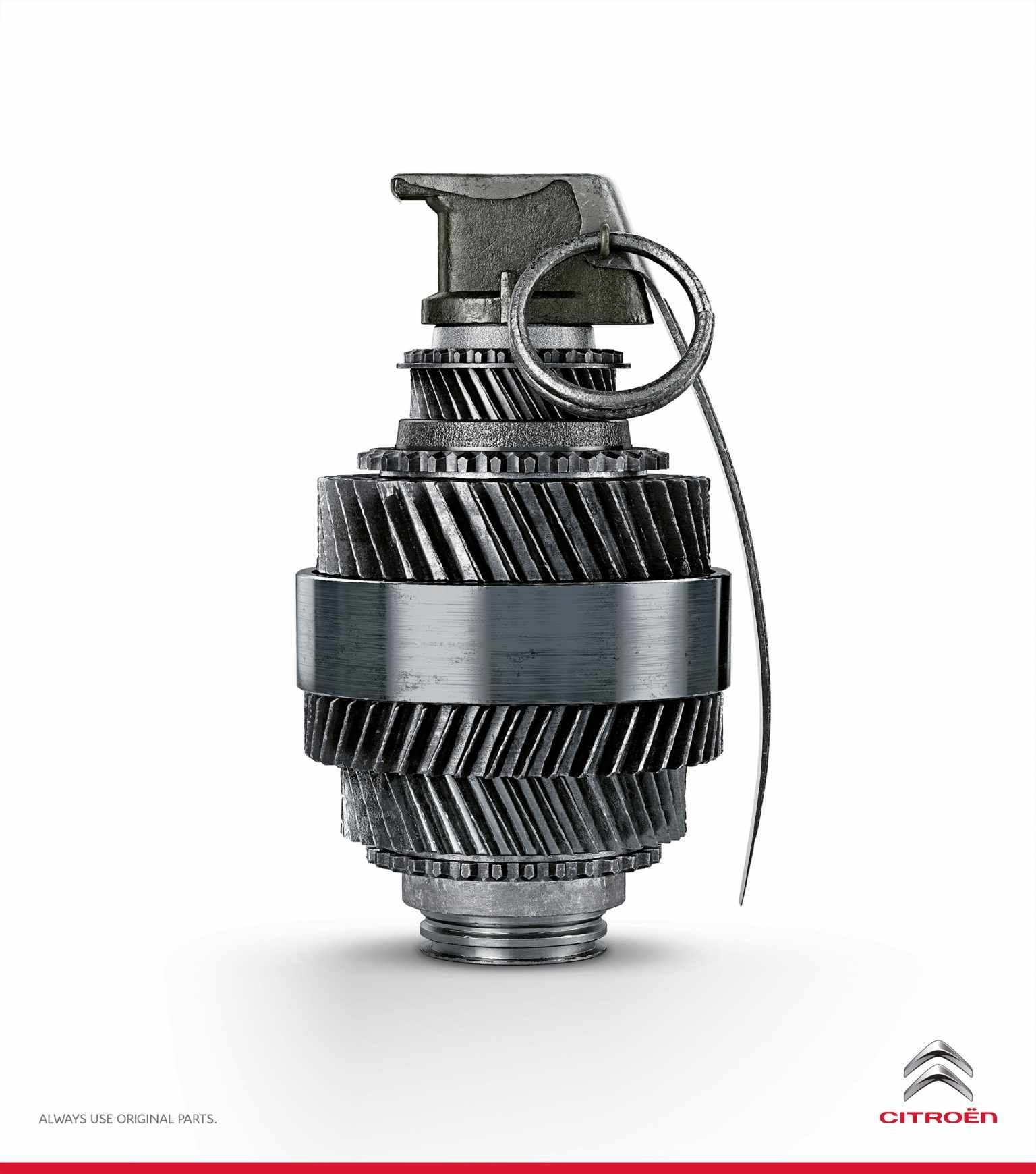 Citroën: Grenade  Always use original parts.  Advertising Agency: Havas Worldwide, São Paulo, Brazil Creative Directors: Sidney Braz, Celio Salles Art Director: Cristian Firmino Copywriter: Felipe Araújo Illustrator: Big Studios Published: November 2013
