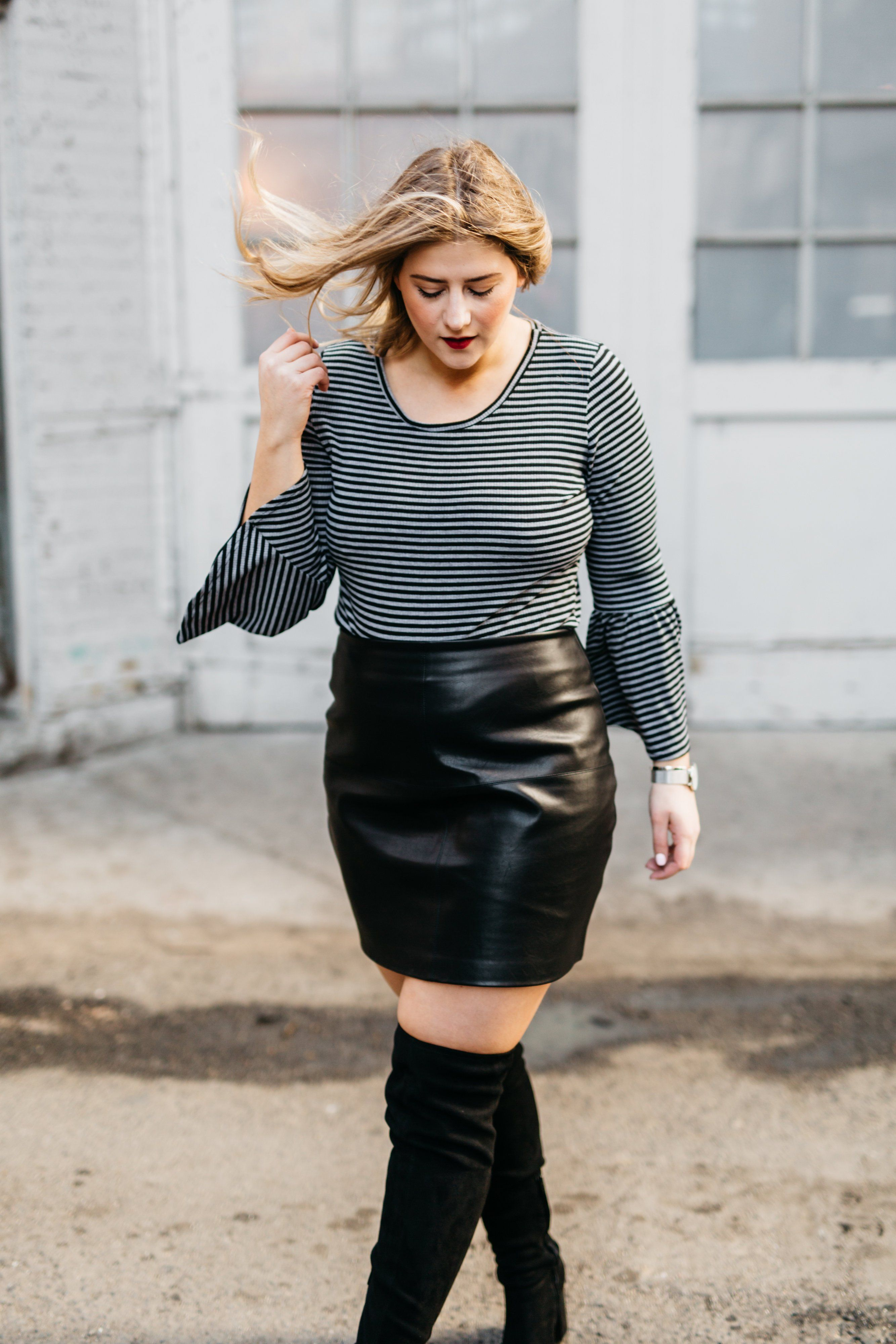 9c483382cc Rae Everyday | How to Style a Leather Skirt Two Ways | ASOS leather skirt |  Charlotte Russe Bell Sleeve Top | OTK boots | Clusse Watch