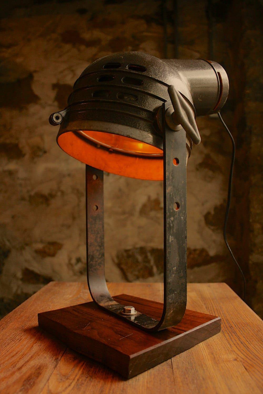 Vintage Movie Spotlight with Oak Desk Lamp Desk lamp