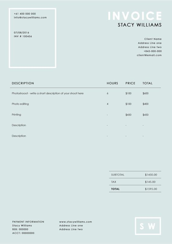 Photography invoice template Photography receipt – Photography Invoice Template