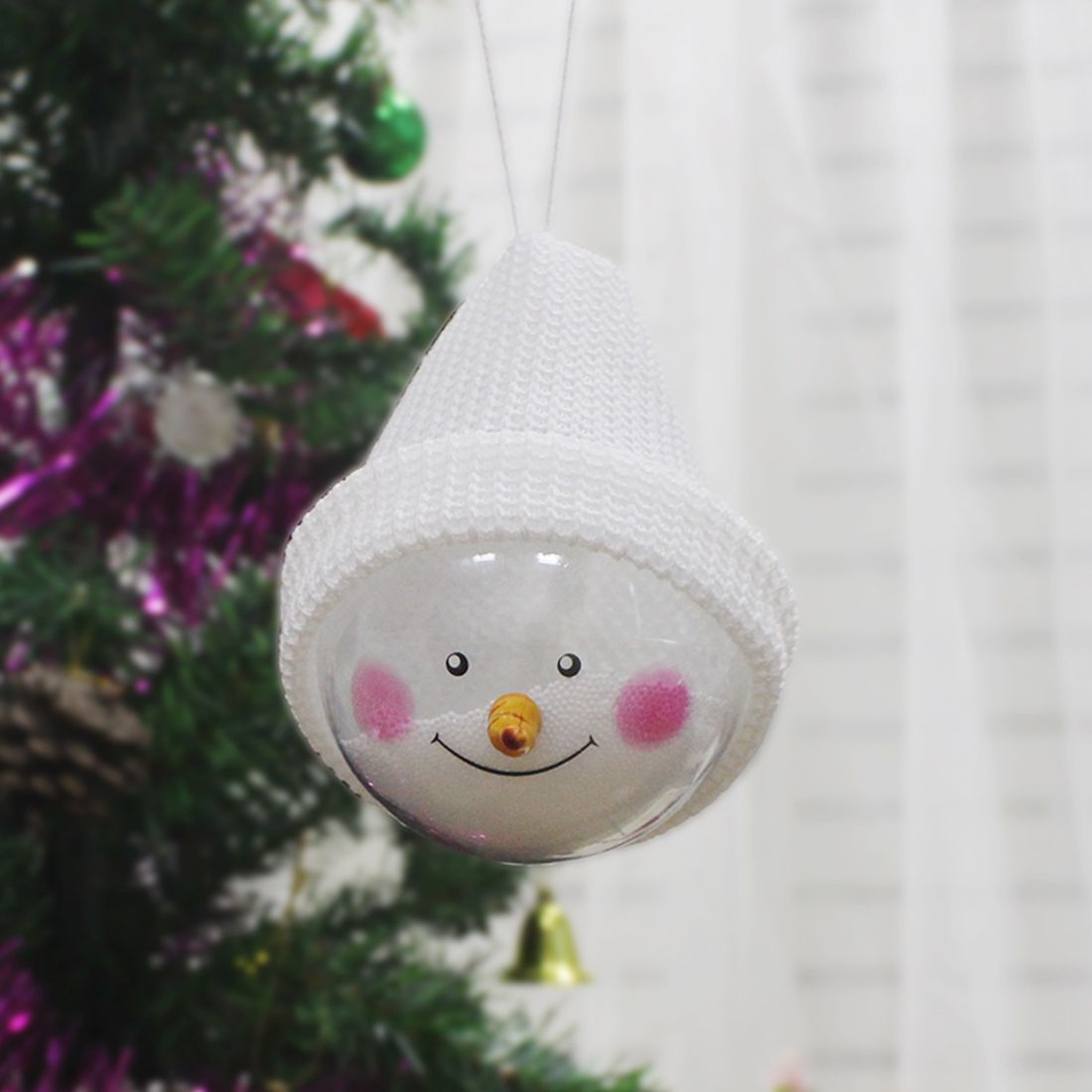 New Merry Christmas Children Toy Hanging Tree Christmas Ball Ornament With  Hat Garden Decor 15*