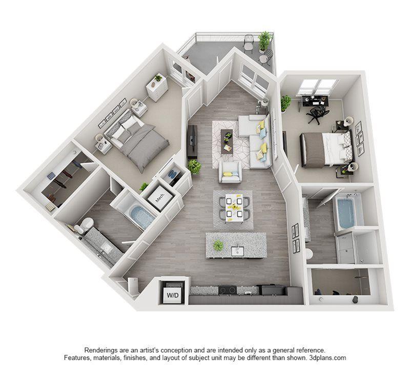 Two Bedroom Floor Plan B7 House Floor Design Home Building Design Sims House Design