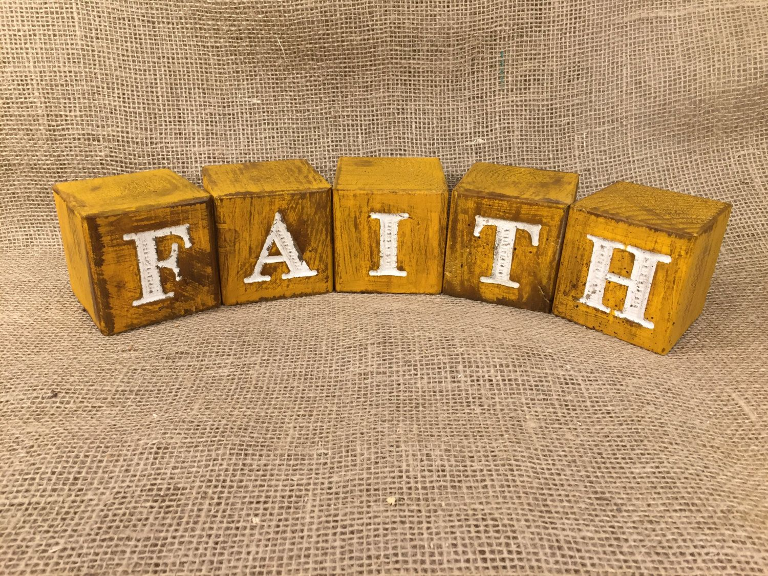 Rustic Wood Blocks Engraved With FAITH   Home Decor By TinkerDos On Etsy