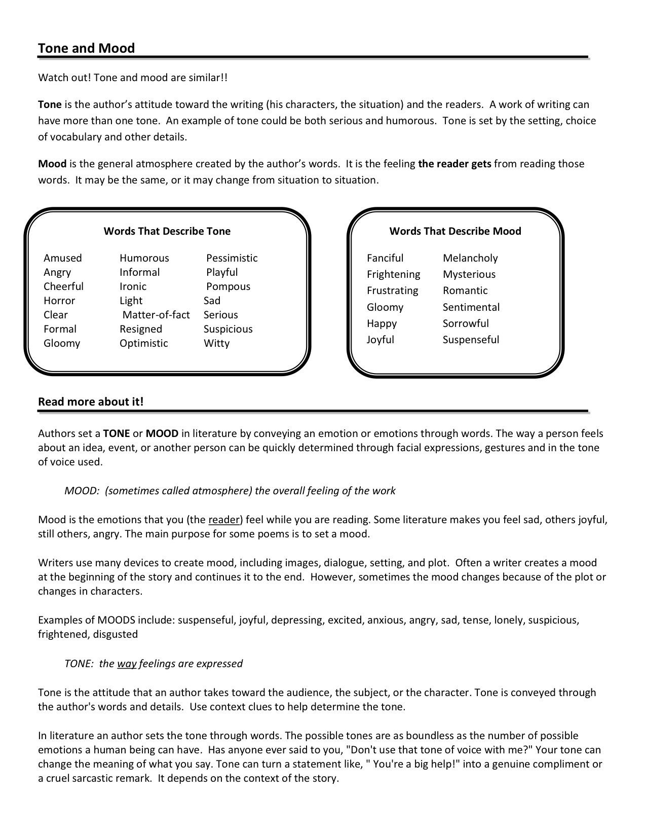 Tone And Mood Worksheets