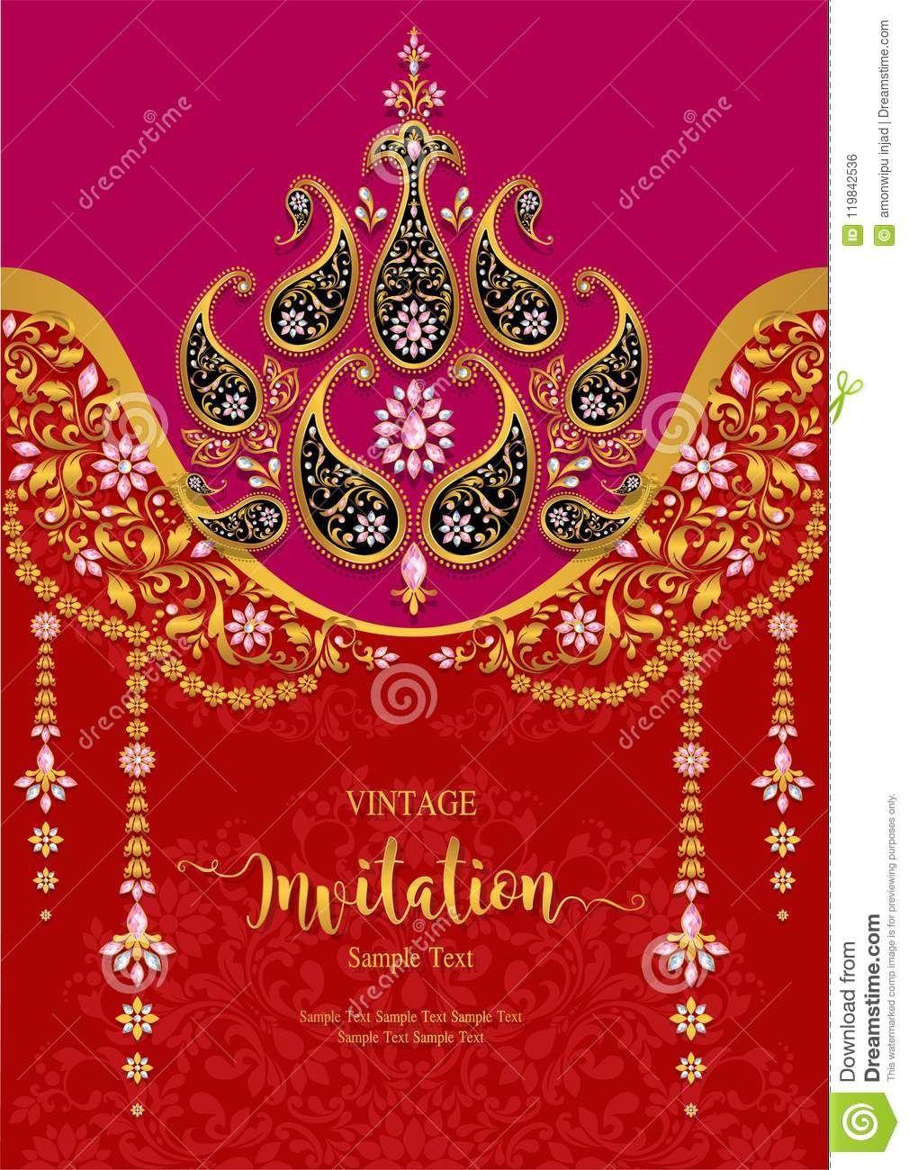 Wedding Invitation Card Templates Stock Vector For Indian Wedding Cards Desig Indian Wedding Invitation Cards Indian Wedding Cards Wedding Card Design Indian