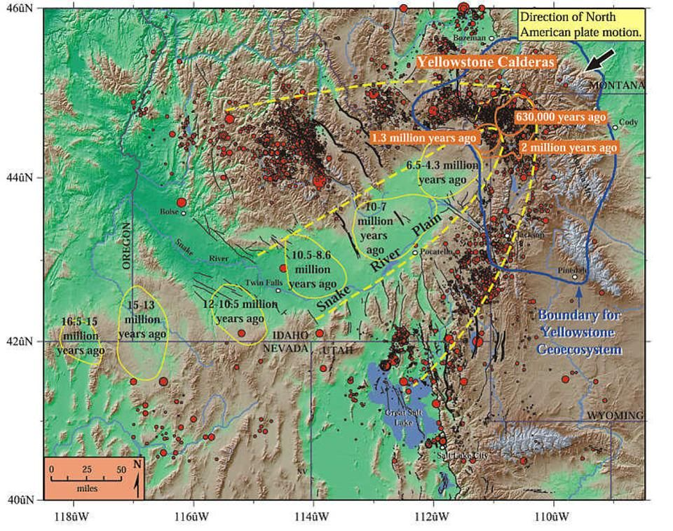 Geology The path of the Yellowstone calderas