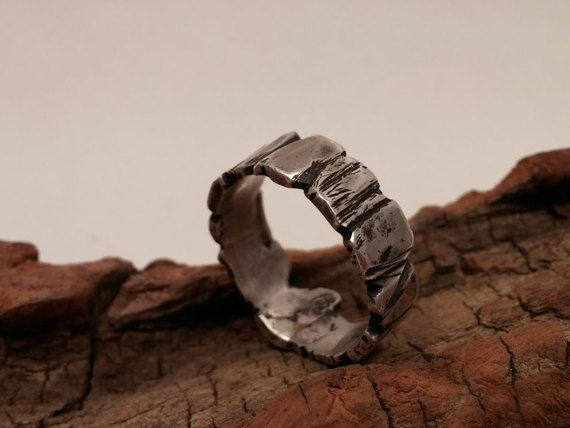Men's Sterling Silver Viking Wedding Ring / Guy's by FJMetalworks