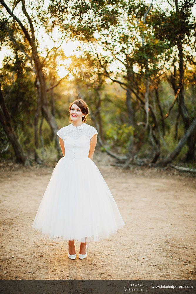 1950\'s inspired wedding dress- dress: @DEAR GOLDEN photo: Lakshal ...