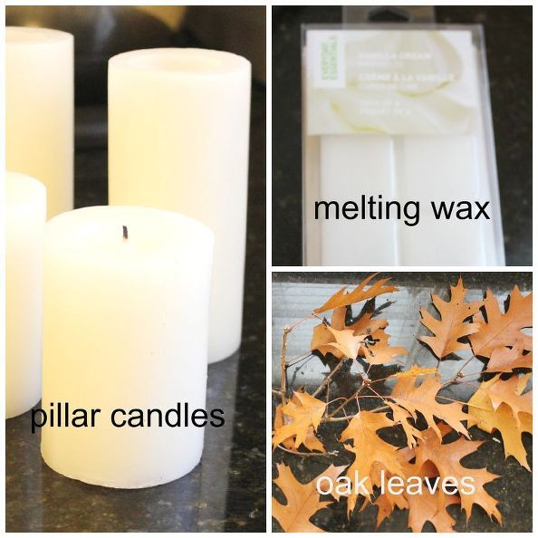 diy pottery barn knock off candle with leaves, crafts, diy, seasonal holiday decor