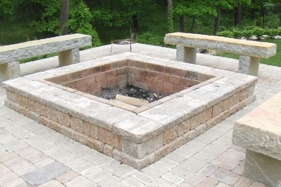 brick patio designs with fire pit backyard brick patio design with grill station seating wall and - Paver Patio Designs With Fire Pit