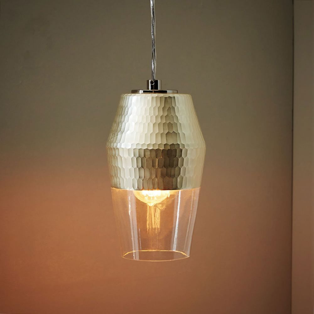 Metallic honeycomb glass pendant tall west elm let there be