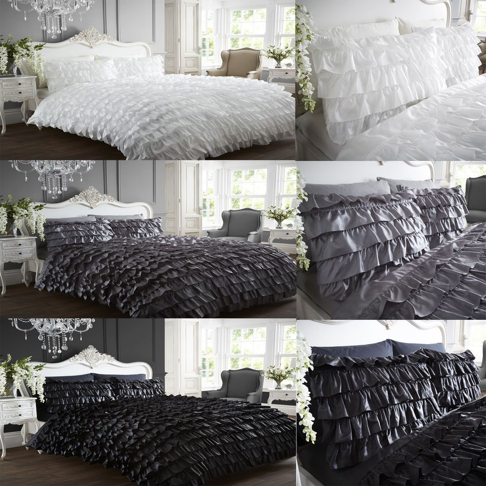 Pink Flamenco Ruffle Frills Grey All Sizes White Duvet Quilt Cover Bed Set