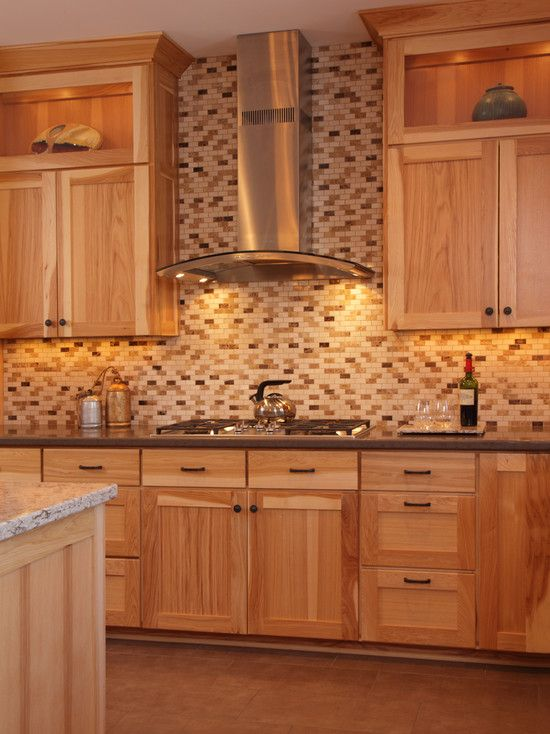 Hickory Cabinets Two Different Color Color Counter Tops