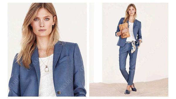 Пример сочетания серо-голубого с белым в одежде для цветотипа лето