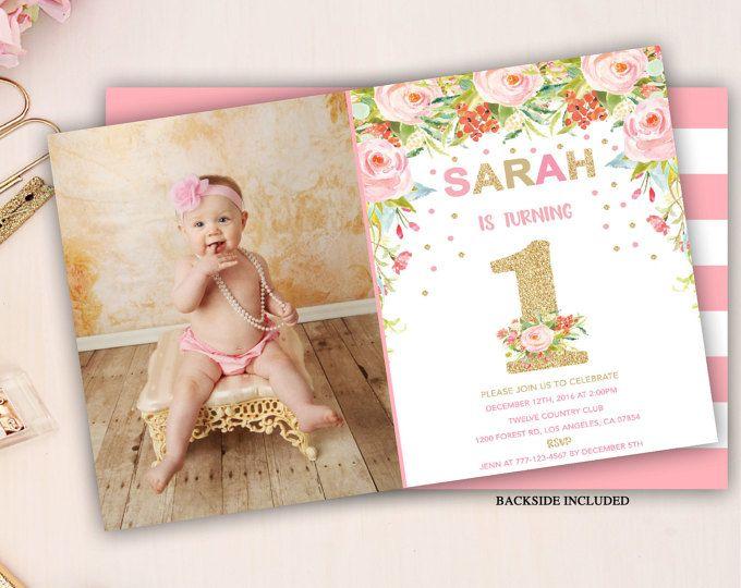 Floral Erste Geburtstagsfeier Einladung, Rosa Und Gold Mädchen Erste  Geburtstagseinladung, Blumen Geburtstag Einladen,