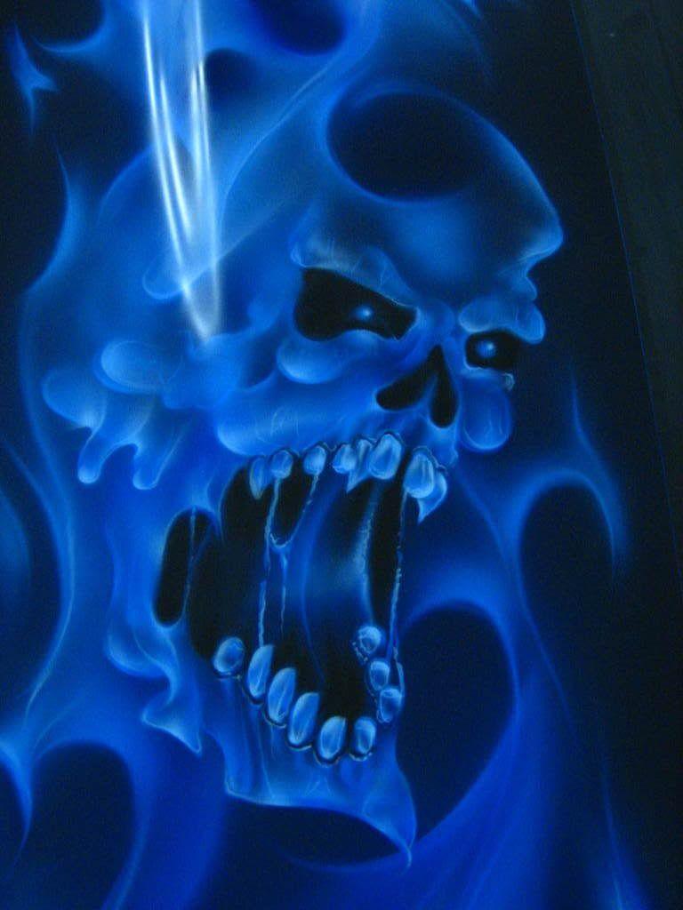 Mobile Wallpaper Skull Stencil Pinstripe Art Artwork Blue