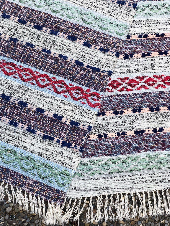 Scandinavian Rug Hand Woven Rag Rug Carpet Traditional Swedish Folk Craft Rag Rug Hand Woven Rag Rug Scandinavian Rug
