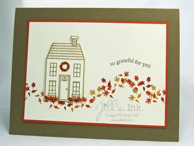 Clean and simple thanksgiving card created with the holiday home stamp set and homemade holiday framelits