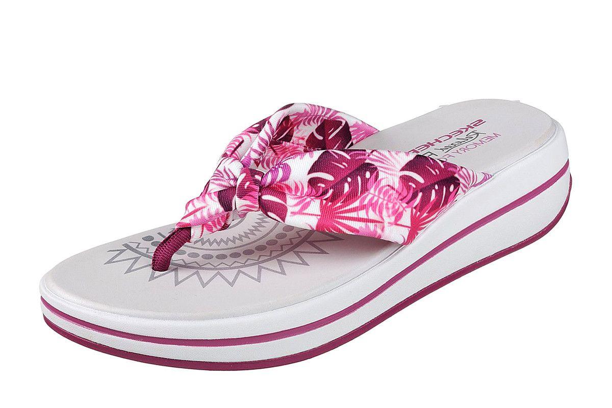 c5bbf40482a2 Skechers Upgrades Pac Island Raspberry Purple Floral Wedge Flip Flops  Sandals