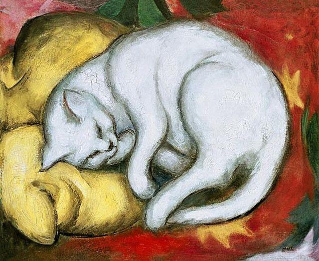 Matou sur coussin jaune - Kater auf gelbem Kissen - Cat on yellow pillow | painting by Franz Marc