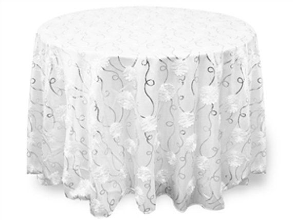 Beautiful White Floral And Silver Sequin Swirl Taffeta Tablecloth