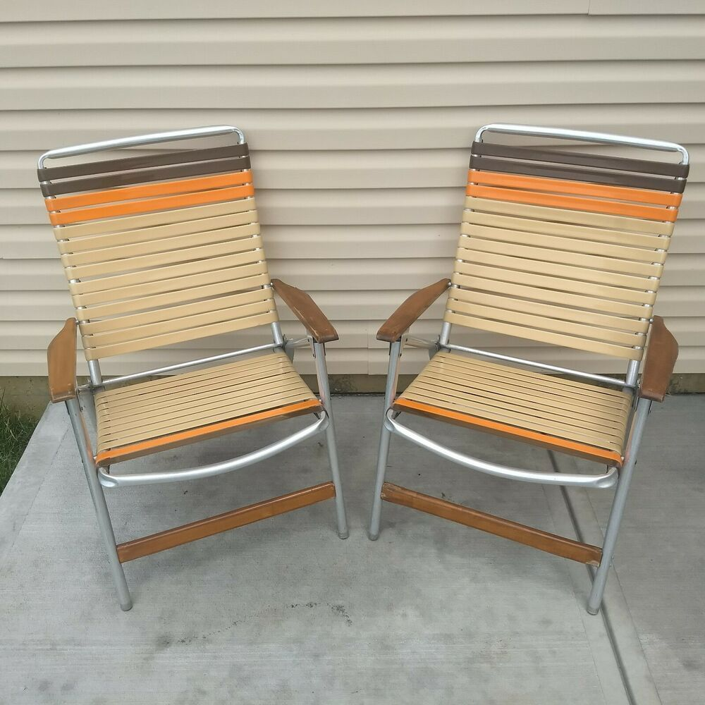 Details About Vtg Telescope Aluminum Folding Lawn Chairs Set Brown