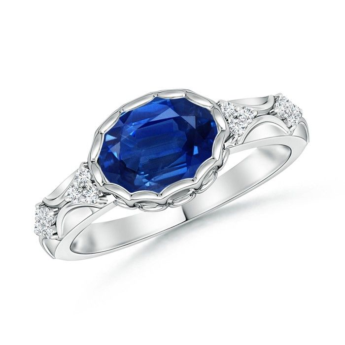 Angara Diamond Halo Claw Natural Sapphire Milgrain Ring AawmvX1vY