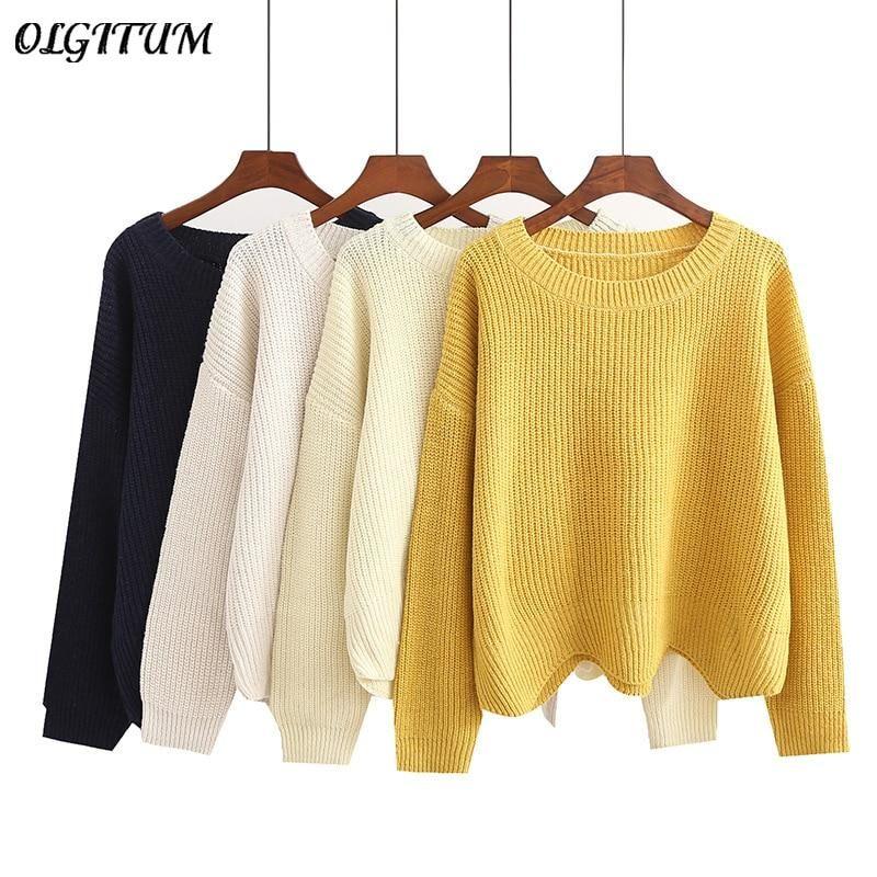 2019 Fashion New Sweater Women Wave Hem Autumn/Winter