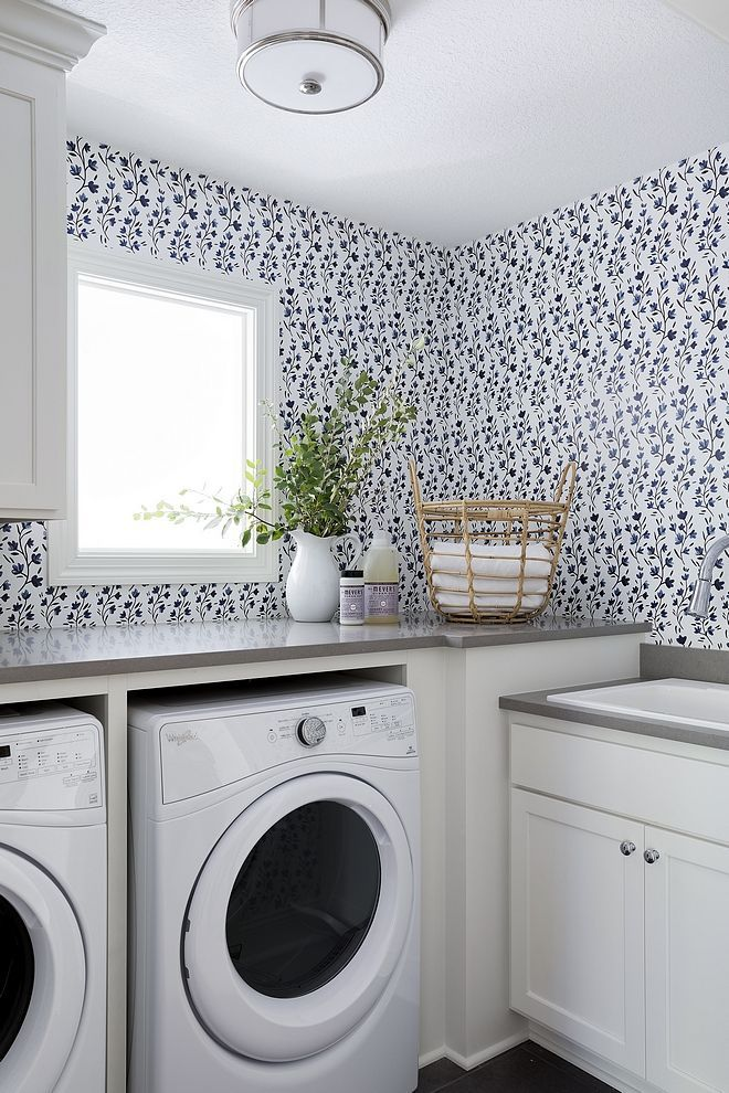 Laundry Wallpaper | Laundry room design, Laundry room ...