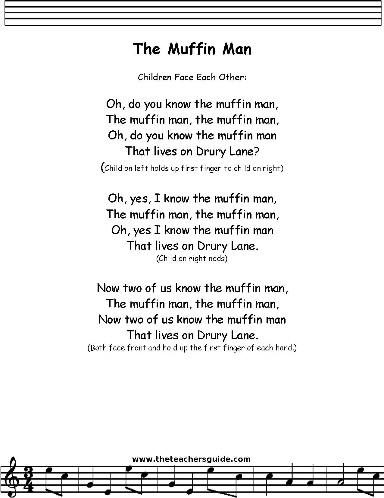 Muffin Man Lyrics Printout