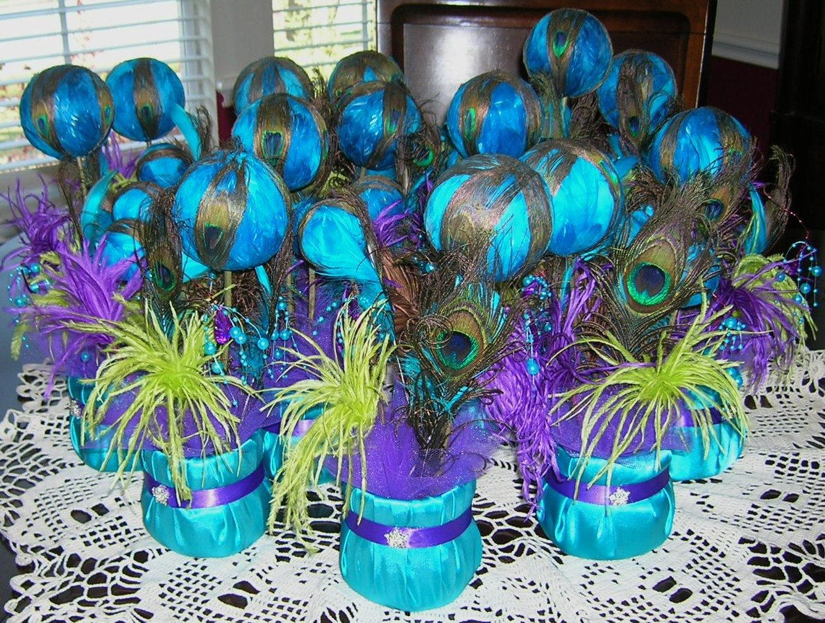 Peacock Wedding Reception Table Centerpiece