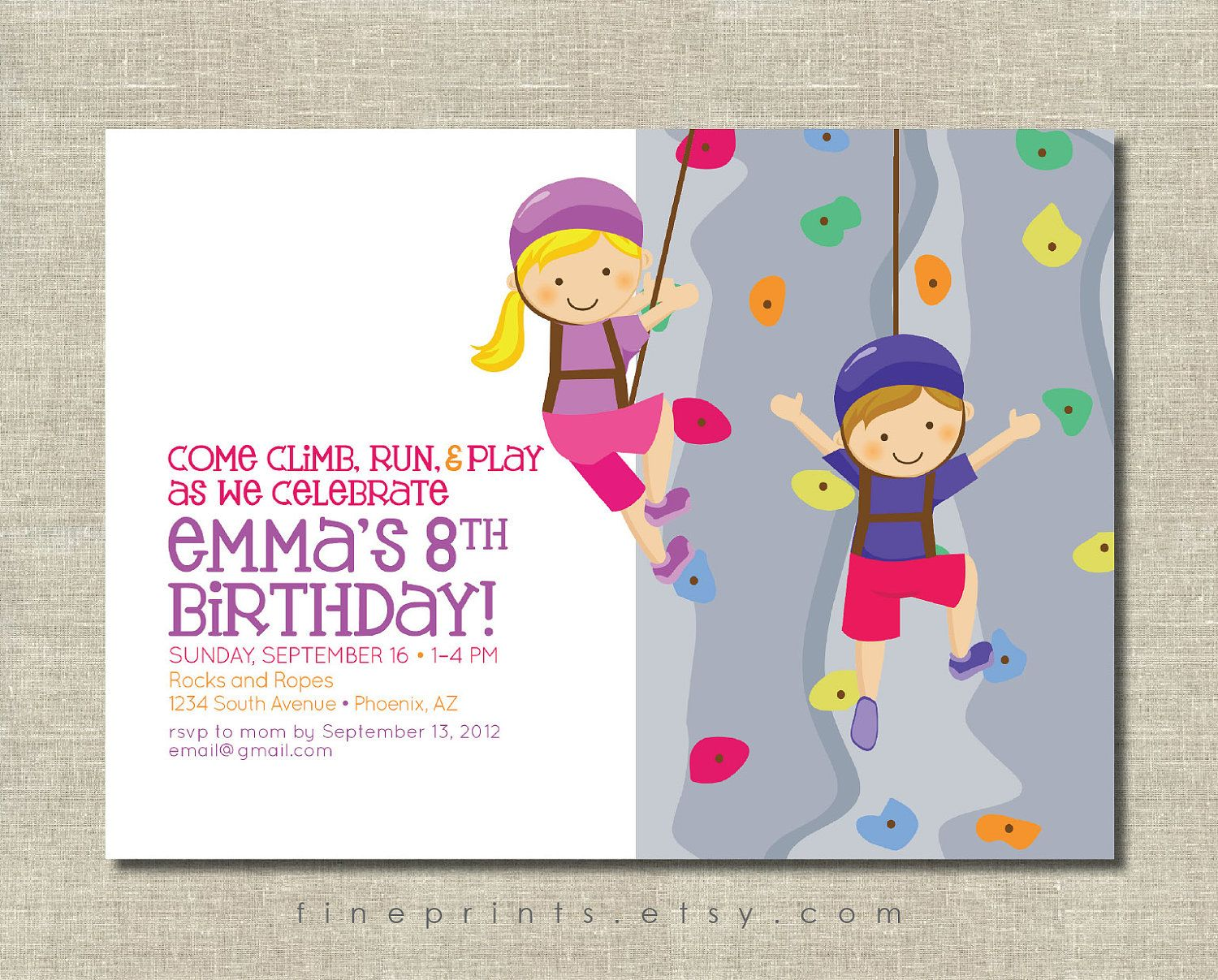 Rock wall climbing party invitation | Party invitations, Rock and ...