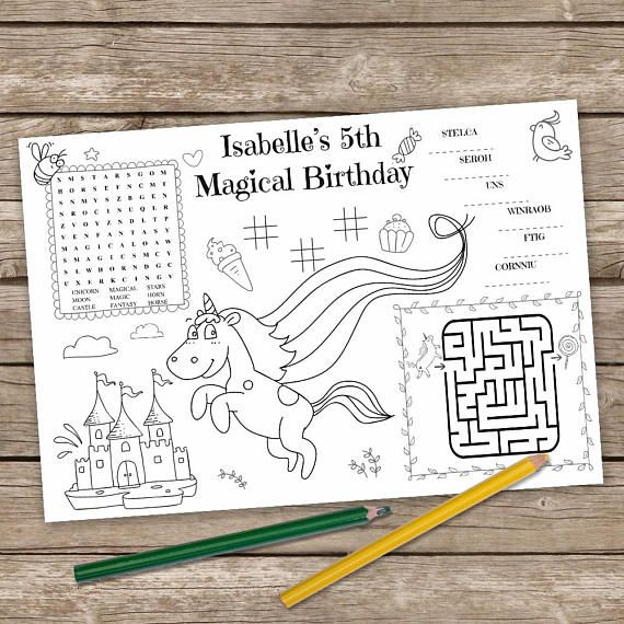 Printable Unicorn Table Mat Kids Activity Placemat Unicorn Bambini