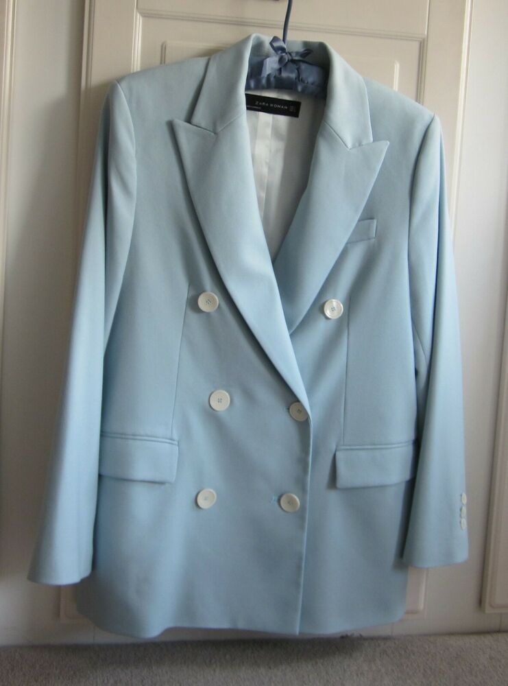 New Zara Woman Double Breasted Sky Blue Blazer Jacket S Fashion Clothing Shoes Accessories Womensclothing Sky Blue Blazer Blue Blazer Blue Blazer Jacket