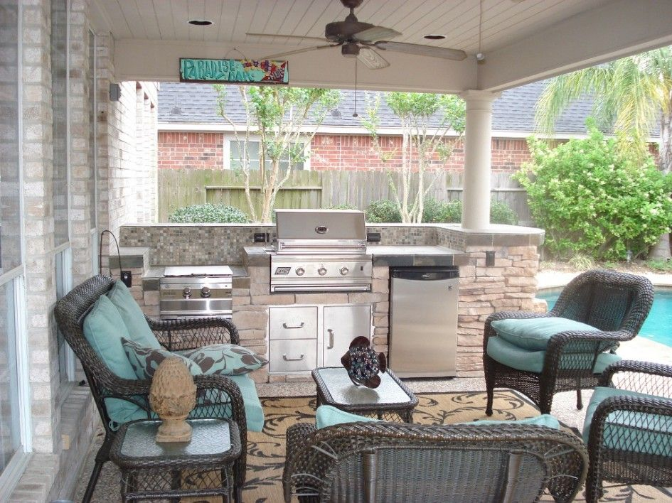 Terrific Outdoor Kitchens In Houston Texas With Mosaic Tile For Kitchen Backs Outdoor Living Design Wicker Patio Furniture Sets Beautiful Outdoor Living Spaces