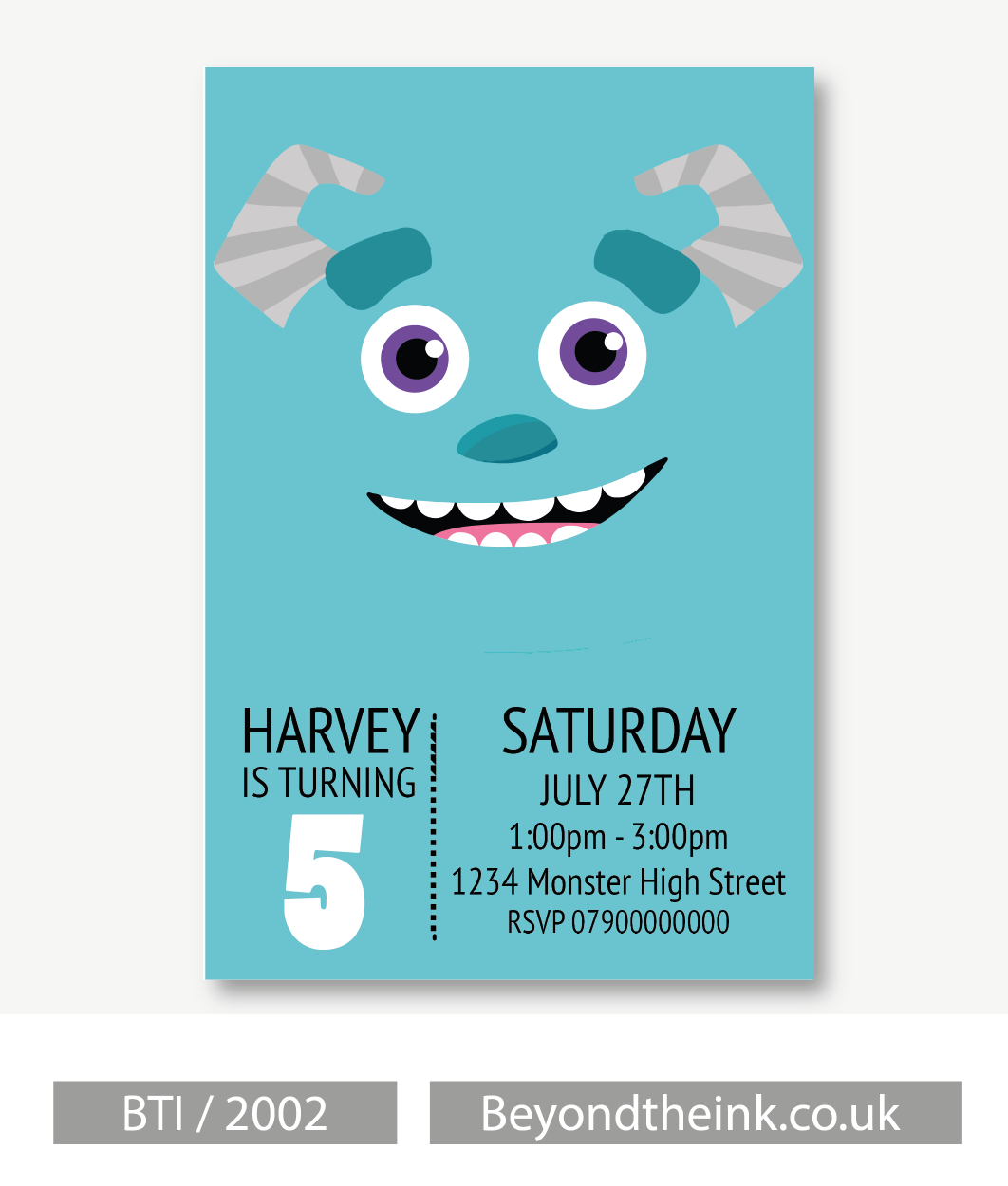 Personalised Monsters Inc Sully Invitations Printed on Professional