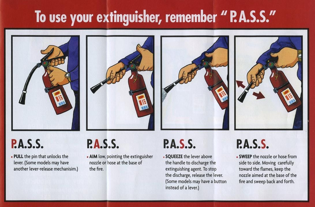How to use a fire extinguisher... P.A.S.S. (pull the pin