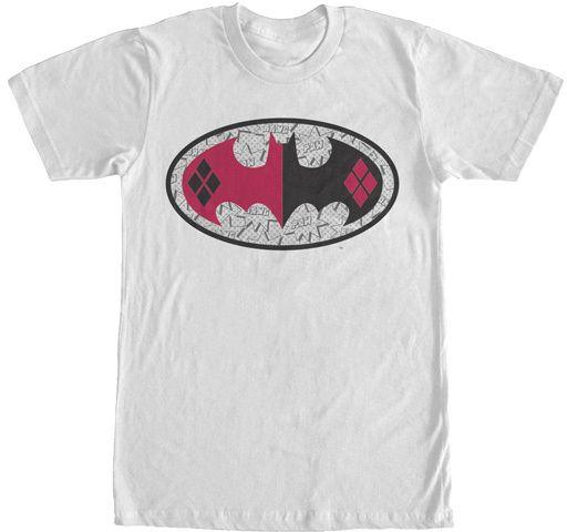 White Harley Quinn Batman Logo Tee - Men's Big