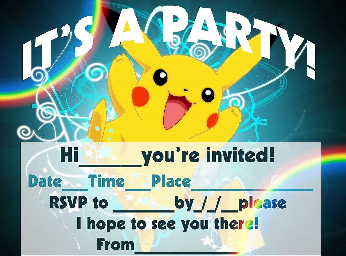 Pokemon Birthday Invitation Templates Free Buttermilk Pancakes