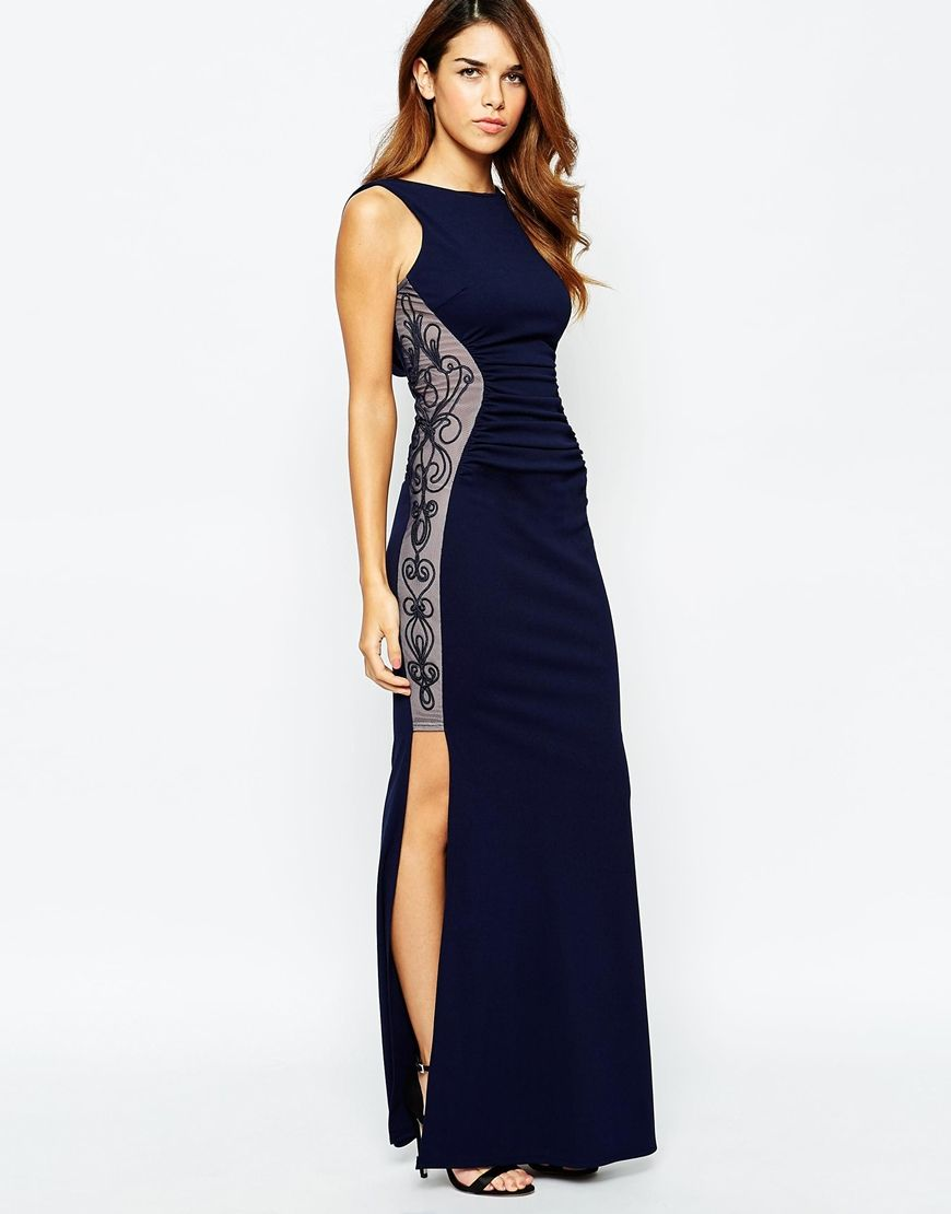 289bdaba110e2 Image 1 of Michelle Keegan Loves Lipsy Maxi Dress With Ruched Embroidered  Sides