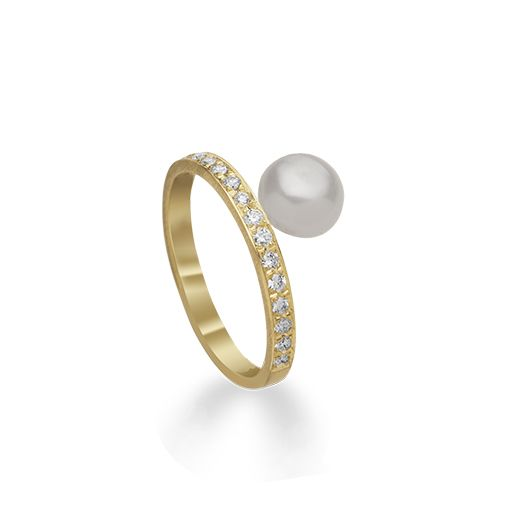 HALL collection Halleh 18kt Yellow Gold Diamonds and Keshee Pearl Midi ring #yellowgold #kesheepearls #midiring #stackingrings