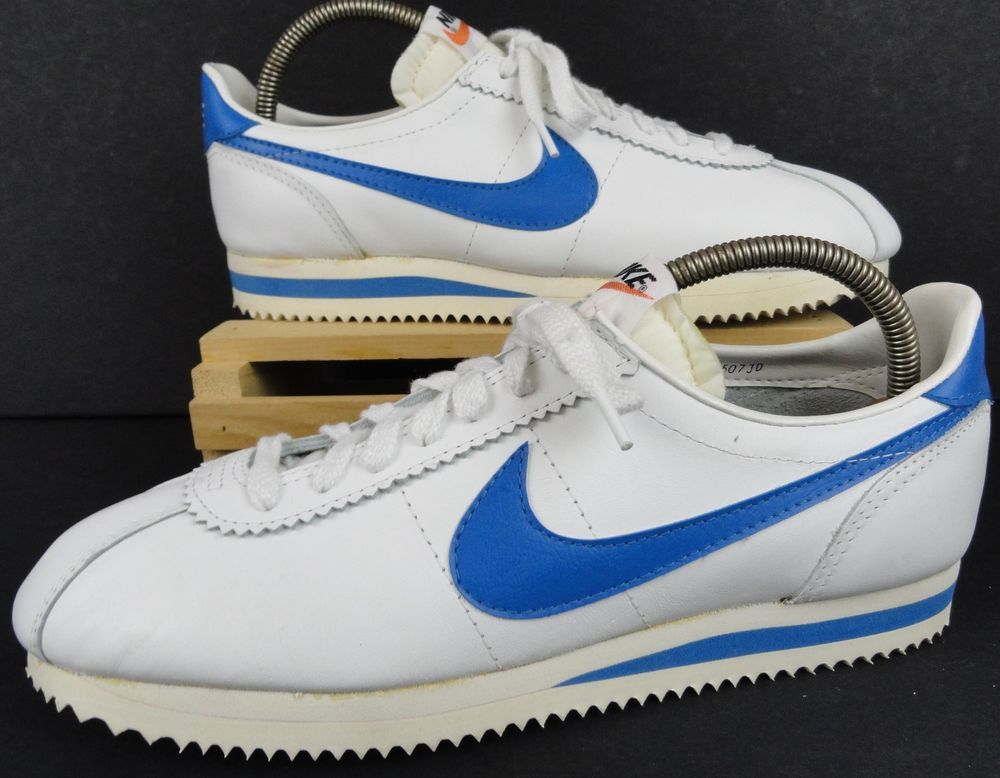 NWOB Vintage Nike Cortez Mens 11 Shoes Leather White Blue Swoosh 70's to 80s