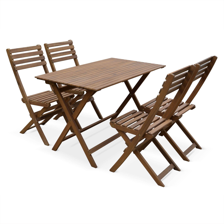 Table De Jardin Et Chaises En Bois 120x70cm Madrid Table De