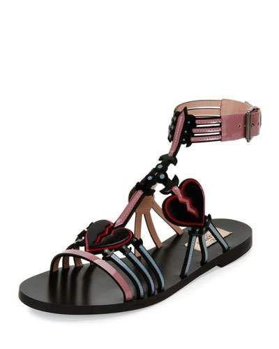 S1gtr Valentino Love Blade Caged Flat Sandal Black